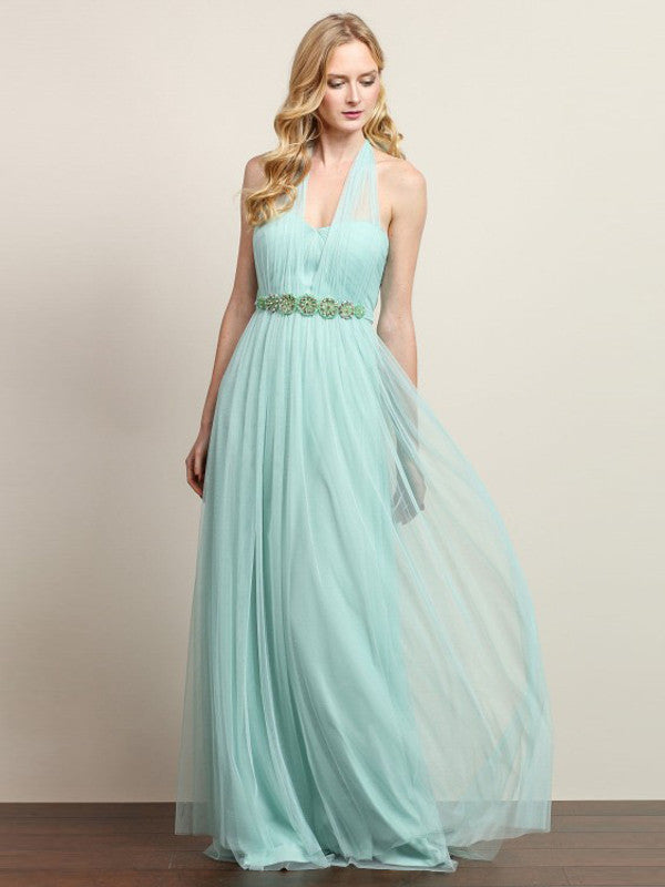 Anna Convertible Tulle Column Dress with Belt in Light Sage - Bon Robe Bridesmaid