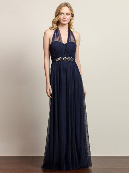Anna Convertible Tulle Column Dress with Belt in Navy Blue - Bon Robe Bridesmaid