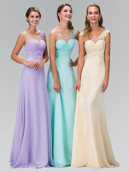 Sleeveless Illusion Sweetheart Floral Accent Dress Elizabeth K GL1332 - Bon Robe Bridesmaid