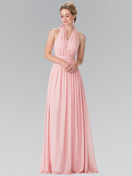 Chiffon Floor Length Halter Neck Tie Dress Elizabeth K GL2362 - Bon Robe Bridesmaid