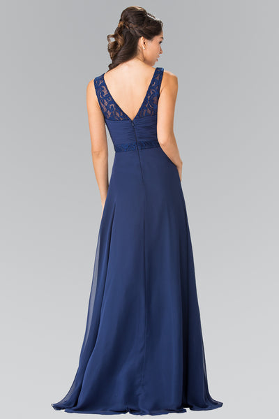 V-Neck Illusion Sweetheart Chiffon Lace Straps Dress Elizabeth K GL2363 - Bon Robe Bridesmaid