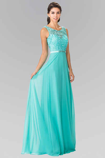 Embroidered Illusion Chiffon Embellished Waist Dress Elizabeth K GL2364 - Bon Robe Bridesmaid