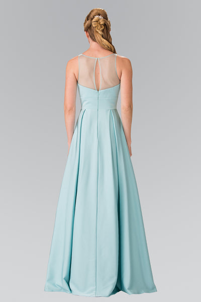 Scoop Neck Notched Illusion Long Jersey Dress Elizabeth K GL2365 - Bon Robe Bridesmaid