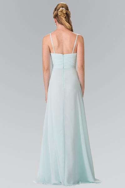 Spaghetti Strap Pleated Long Chiffon Dress Elizabeth K GL2374 - Bon Robe Bridesmaid