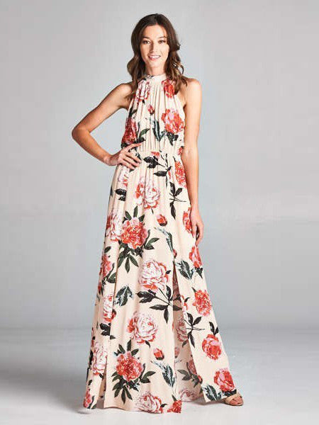 Charlene Halter Floral Rose Print Maxi Dress in Blush - Bon Robe Dresses