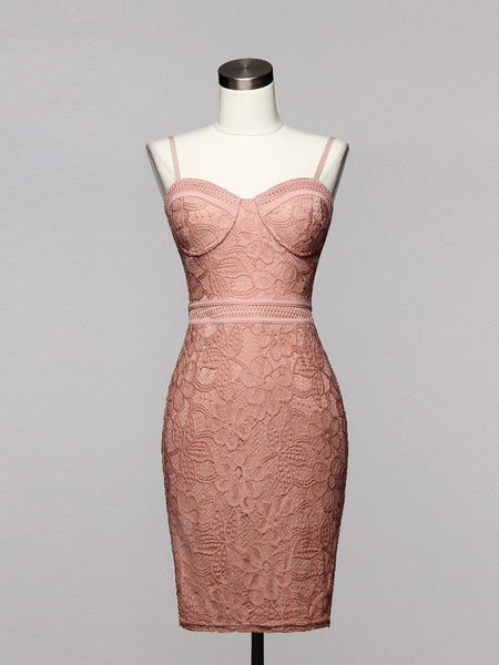 LaLa Bombshell Bustier Floral Lace Bodycon Dress in Mauve - Bon Robe Dresses