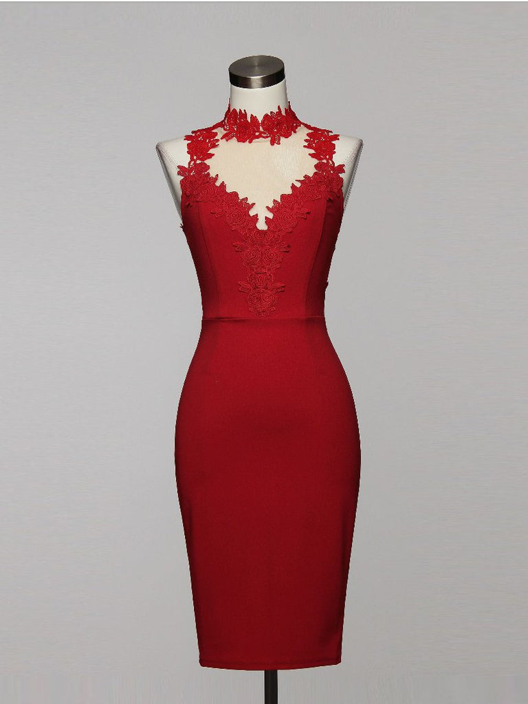 Playing with Fire Flower Lace Trim Choker Bodycon in Red - Bon Robe Dresses