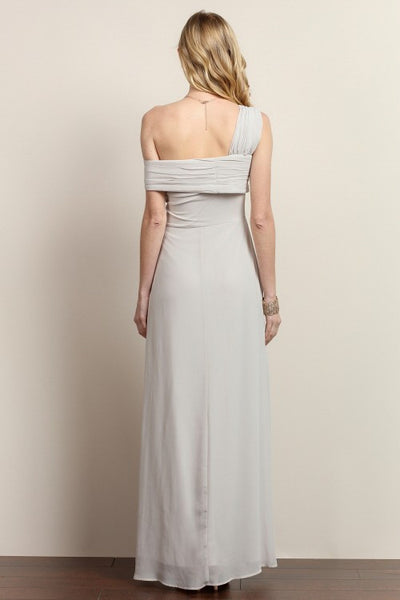 Kara One Cold Shoulder Solid Maxi Dress in Grey - Bon Robe Bridesmaid
