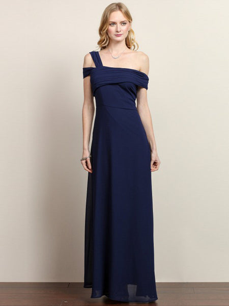 Kara One Cold Shoulder Solid Maxi Dress in Navy - Bon Robe Bridesmaid