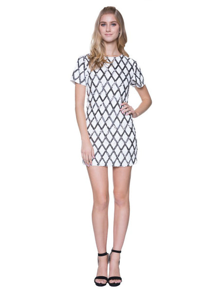 London Bash Diamond Sequin Mini Shift Dress in Silver - Bon Robe Dresses