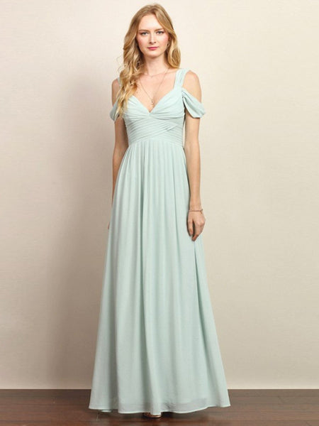 Loren Double Off The Shoulder Sweetheart Maxi Dress in Hazy Sage - Bon Robe Bridesmaid