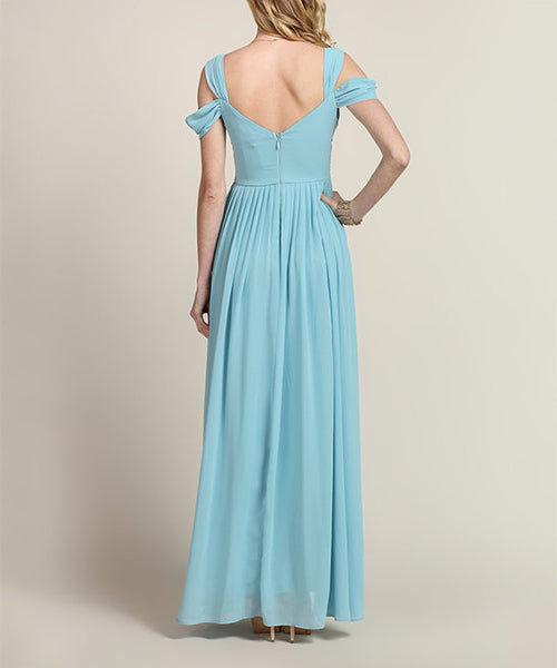 Loren Double Off The Shoulder Sweetheart Maxi Dress in Vintage Blue - Bon Robe Bridesmaid