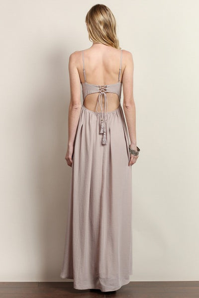 Lucia V-Neck Tassel Tie Back Maxi Dress in Sphinx Taupe - Bon Robe Bridesmaid