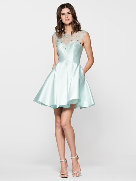 Illusion Embellished Sweetheart Dress in Mint MD16704S | Luxe Shop - Bon Robe Dresses