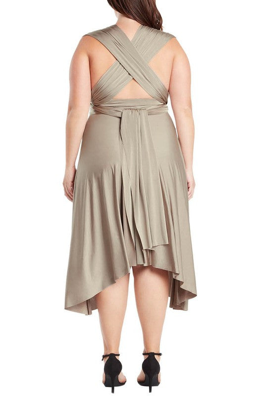 4c1ae90530 ... Infinity Tie Wrap Convertible Dress Midi Tea Length in Champagne Plus  Size - Bon Robe Bridesmaid ...