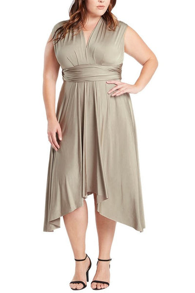 Infinity Tie Wrap Convertible Dress Midi Tea Length in Champagne Plus Size - Bon Robe Bridesmaid