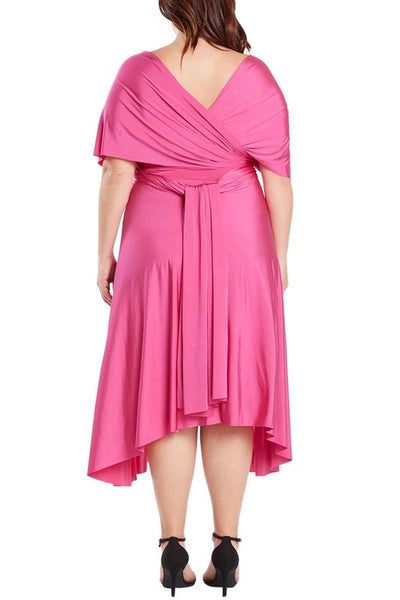 Infinity Tie Wrap Convertible Dress Midi Tea Length in Fuchsia Plus Size - Bon Robe Bridesmaid