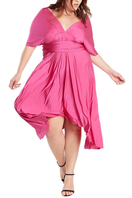 Infinity Tie Wrap Convertible Dress Midi Tea Length in Fuchsia Plus Size