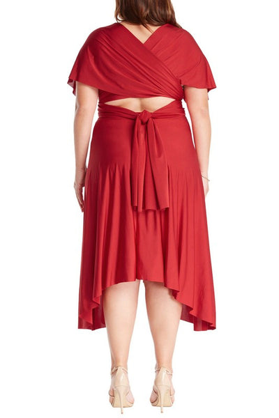 Infinity Tie Wrap Convertible Dress Midi Tea Length in Red Plus Size - Bon Robe Bridesmaid