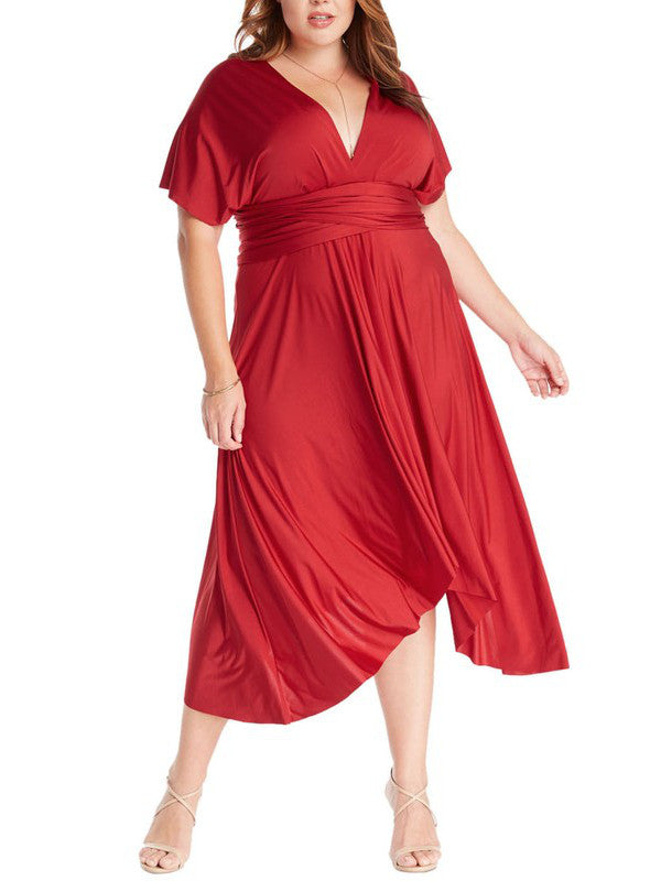 Infinity Tie Wrap Convertible Dress Midi Tea Length in Red Plus Size