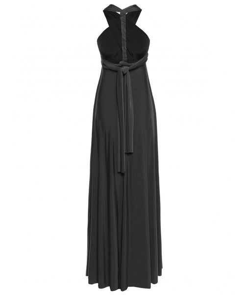 Multi Way Wrap Infinity Long Maxi Jersey Convertible Dress in Black - Bon Robe Bridesmaid