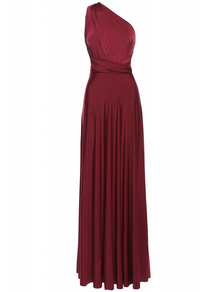 Multi Way Wrap Infinity Long Maxi Jersey Convertible Dress in Burgundy - Bon Robe Bridesmaid