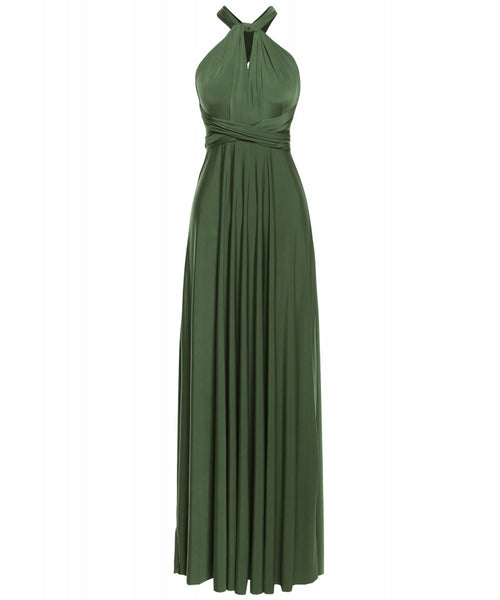 Multi Way Wrap Infinity Long Maxi Jersey Convertible Dress in Forest Green - Bon Robe Bridesmaid