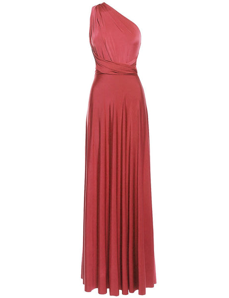 Multi Way Wrap Infinity Long Maxi Jersey Convertible Dress in Pink Salmon - Bon Robe Bridesmaid