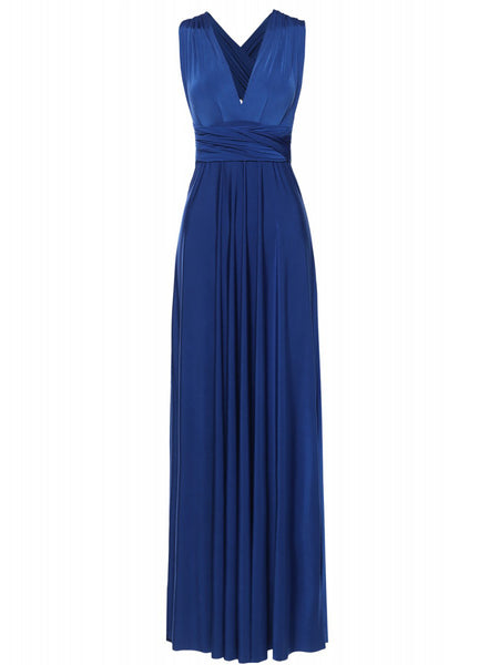 Multi Way Wrap Infinity Long Maxi Jersey Convertible Dress in Royal Blue - Bon Robe Bridesmaid
