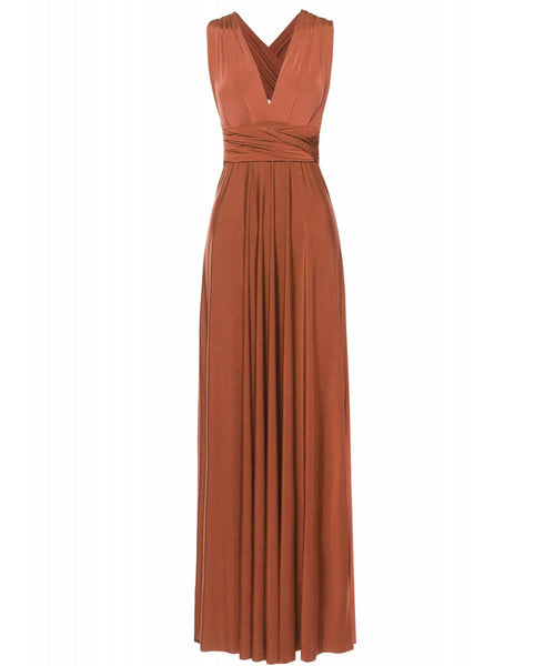 Multi Way Wrap Infinity Long Maxi Jersey Convertible Dress in Rust - Bon Robe Bridesmaid