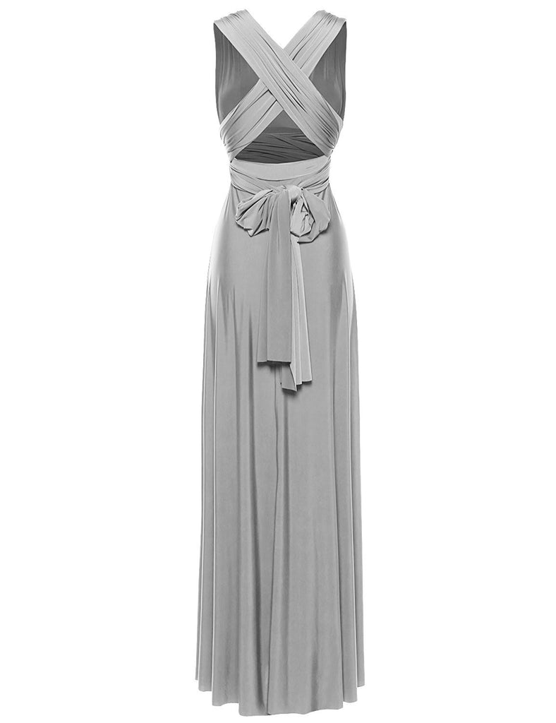 e339c454c95a ... Multi Way Wrap Infinity Long Maxi Jersey Convertible Dress in Silver  Grey - Bon Robe Bridesmaid ...