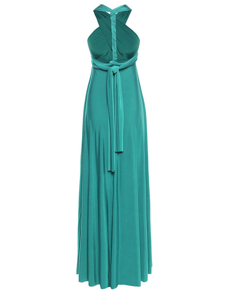 Multi Way Wrap Infinity Long Maxi Jersey Convertible Dress in Teal - Bon Robe Bridesmaid