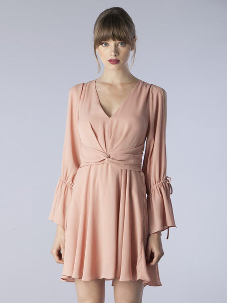 My Fair Lady Slit Sleeves Flared Cuff Dress in Almond Pink - Bon Robe Dresses