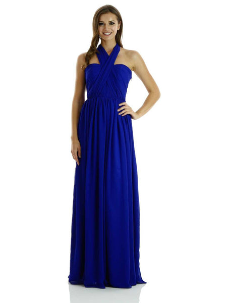 Chiffon Convertible Dress Strapless Pleated Bodice Multi-Way - Multiple Colors - Bon Robe Bridesmaid