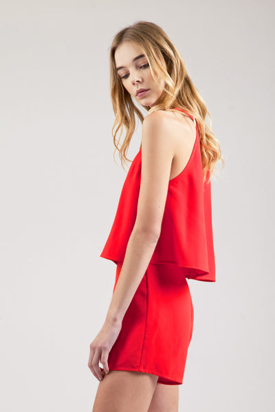 Eddy Keyhole Layered Haltered Romper in Red - Bon Robe Rompers+Jumpsuits