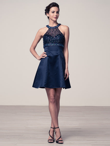2 Piece Beaded Halter Illusion Dress in Navy Blue IQ362S | Luxe Shop - Bon Robe Dresses