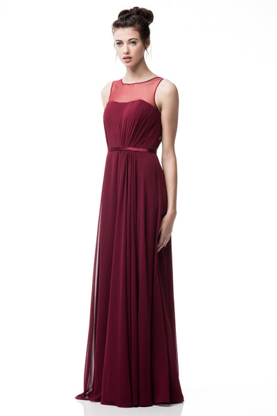 Sleeveless Chiffon Illusion Sheath Dress in Burgundy TR261012 - Bon Robe Bridesmaid