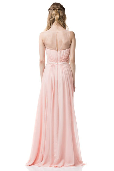 Sleeveless Chiffon Illusion Sheath Dress in Peach TR261012 - Bon Robe Bridesmaid