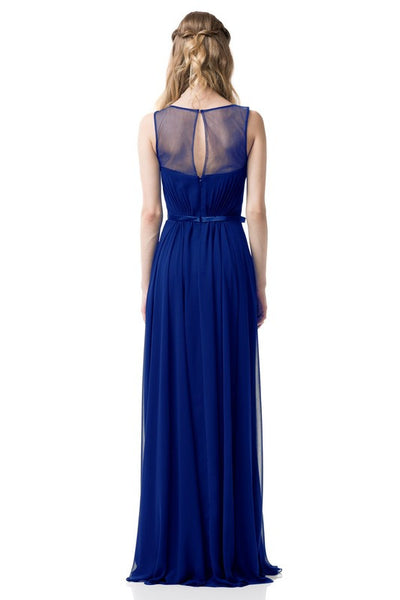 Sleeveless Chiffon Illusion Sheath Dress in Royal Blue TR261012 - Bon Robe Bridesmaid