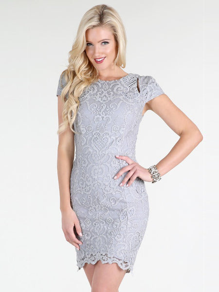 Terri Slit Cap Sleeve Embroidered Lace Bodycon Dress in Light Grey - Bon Robe Dresses