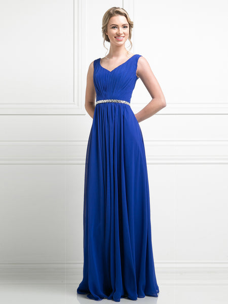 Zara Ruched V Neck Jeweled Waist Dress - Bon Robe Bridesmaid