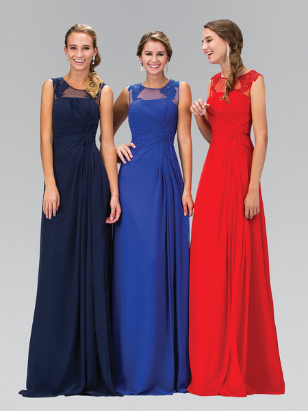 Sleeveless Illusion Neckline Lace Applique Ruched Dress Elizabeth K GL1375 - Bon Robe Bridesmaid