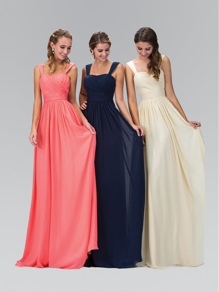 Sleeveless Shoulder Straps Chiffon Long Dress Elizabeth K GL1386 - Bon Robe Bridesmaid