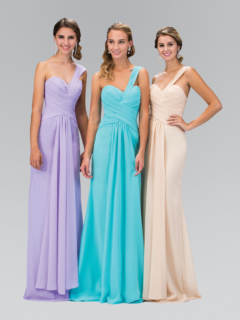 Long One Shoulder Ruched Sweetheart Chiffon Dress Elizabeth K GL1390T - Bon Robe Bridesmaid