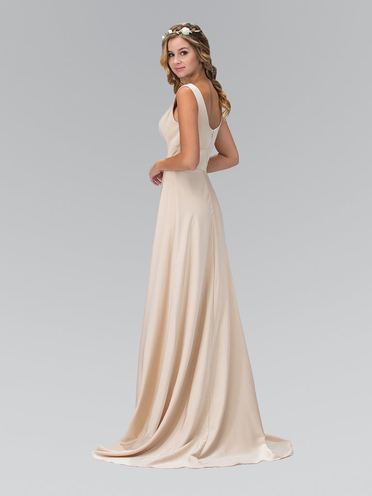 Satin Bateau Slit Sleeveless Floor Length Gown Elizabeth K GL1391T - Bon Robe Bridesmaid