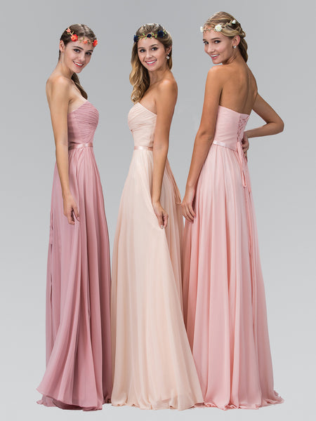 Twisted Pleated Bodice Satin Waist Corset Strapless Dress Elizabeth K GL2069 - Bon Robe Bridesmaid