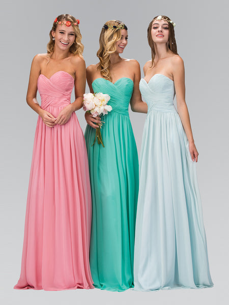 Strapless Pleated Crisscross Bodice Chiffon Corset Dress Elizabeth K GL2076 - Bon Robe Bridesmaid