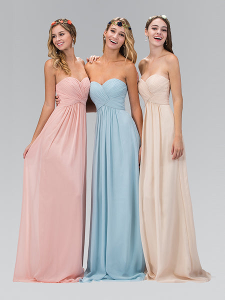 Sweetheart Pleated Crisscross Bodice Chiffon Corset Dress Elizabeth K GL2164 - Bon Robe Bridesmaid