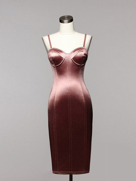 Love Games Satin Bustier Midi Bodycon Dress in Mauve - Bon Robe Dresses