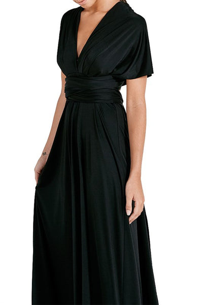 Infinity Multi-Way Convertible Tie Wrap Classic Ballgown Dress in Black - Bon Robe Bridesmaid